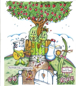 """Elm and Willow enjoy Gratefully Going Green with their friends.  (Taken from an """"E is for Everyone"""" page."""