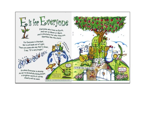 "Everyone is happy. Everyone is excited. Because grEen is for Everyone. (Two of the ""delicious"" pages from Gratefully Going GREEN) Copyright 2012 David J. Hiebert"